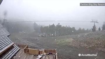 Winter is coming: snow starts falling at ski resort