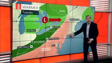 Very warm in East Tuesday then a cool down and showers