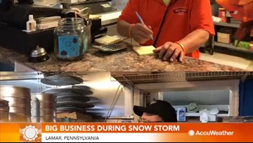 Pizza joint does big business during snowstorm