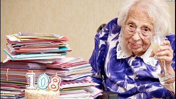 108-Year-Old Celebrates Birthday with Champagne and Cards