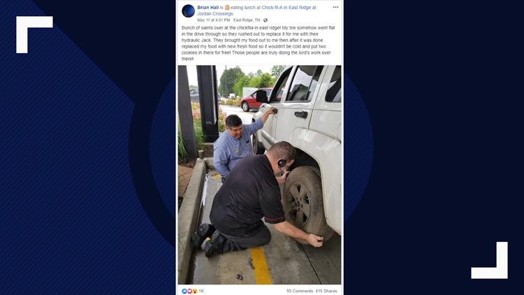 Chick-fil-a employee helps drive-thru customer change flat tire