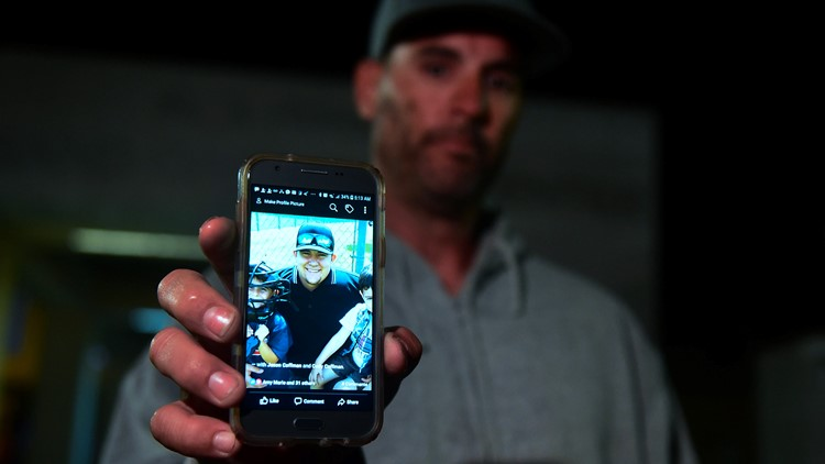 Jason Coffman with photo of son Cody California shooting