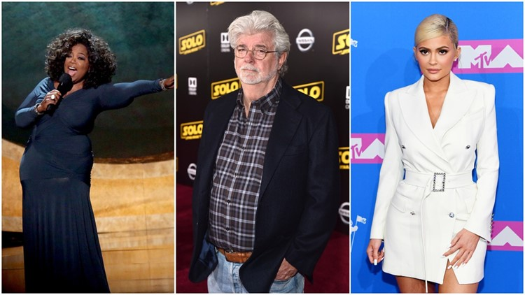 Forbes names 2018's richest celebrities: George Lucas, Oprah, Kylie Jenner make list