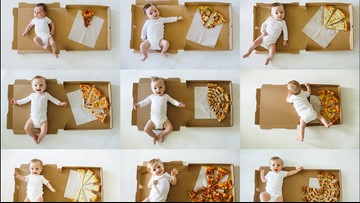Mom wins the internet with genius 'Pizza Baby' milestone photos