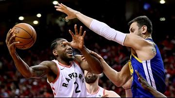 Warriors beat Raptors 109-104 to even NBA Finals