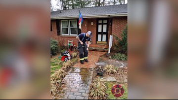Firefighter returns after medical call to wash walkway after resident slipped and fell