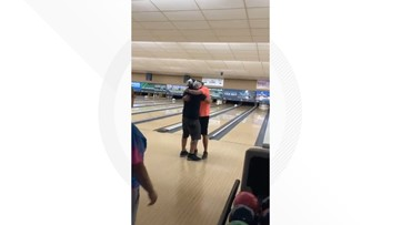 Son of avid bowler plays emotional perfect game with ball containing late father's ashes