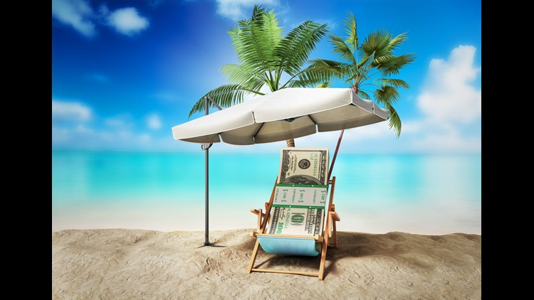 Concept of a credit vacation Concept travel One hundred dollar