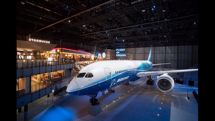 The Dreamliner is the celebrity centerpiece of the Flight of Dreams attraction, which also features branches of some of Seattle's most iconic shops.