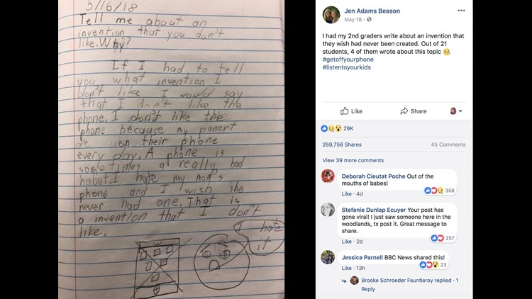 Student wishes phones were never invented because parents are always on it