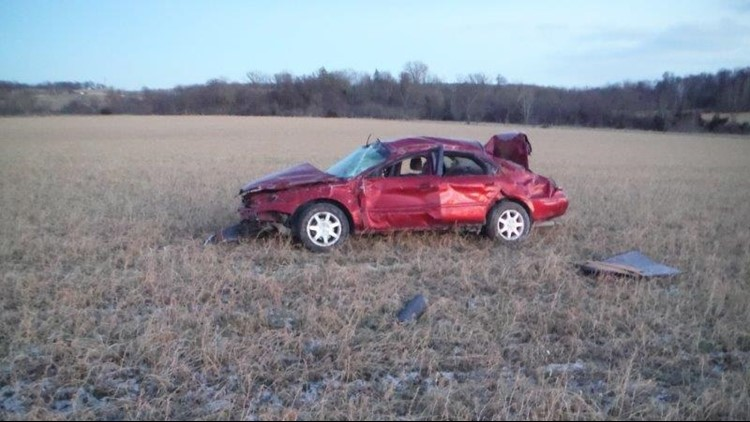 The car in which Logan Maas was riding when he died.