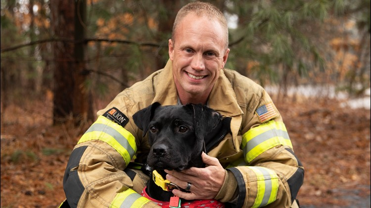 Firefighter Travis Oliver adopted Lexi Ann, and hopes to train her to help other burn victims.