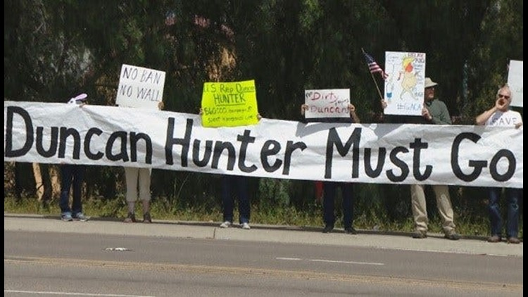 Protesters rally against Rep. Duncan Hunter in Escondido