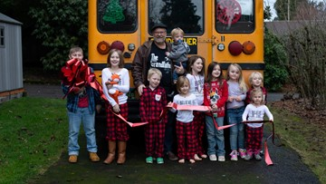 Grandfather Express: Oregon man buys bus to take his 10 grandchildren to school