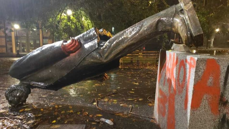 Roosevelt and Lincoln statues toppled in protest of Columbus Day in Portland