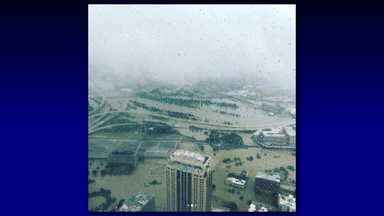 """Downtown Houston just flooded all around."" writes Christian Tycksen (@ctycksen) on Instagram."