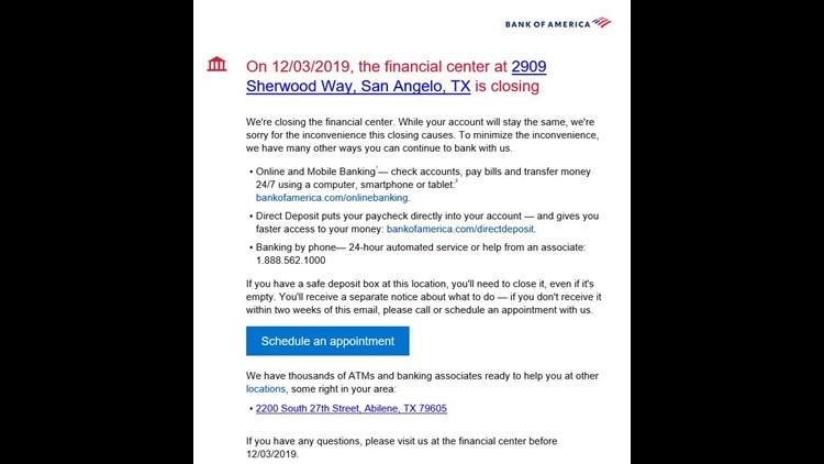 Bank of America closing