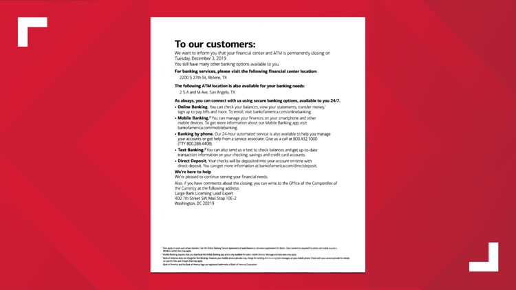 Bank of America letter to customers
