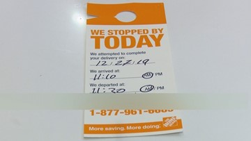 Profane note left on missed Home Depot delivery slip in Seattle