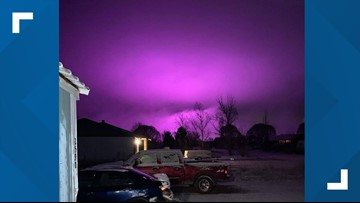 Medical marijuana farm lights create purple hazy sky in Arizona