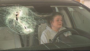 Dislodged traffic reflector crashes through windshield in the Metro East