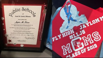 School gives Jaylon McKenzie's mom his cap and gown at 8th grade graduation