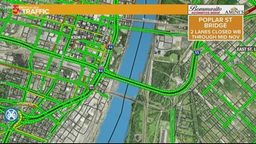 Work on Poplar Street Bridge to close lanes of WB 55/64 for a month