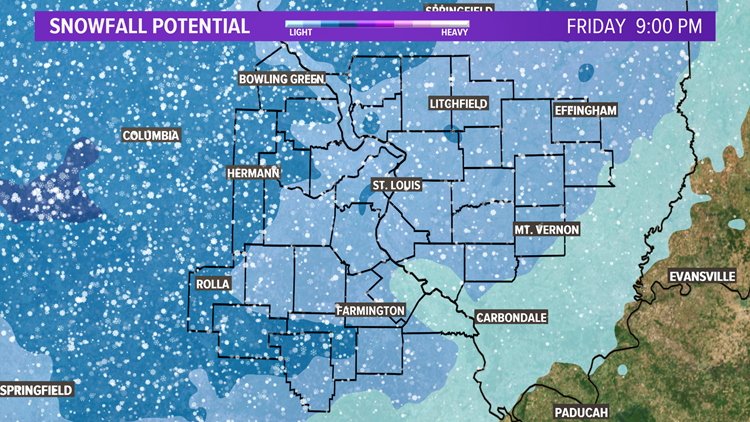 5 On Your Side Coverage Area Snowfall Potential