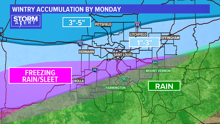 Wintry accumulations Monday