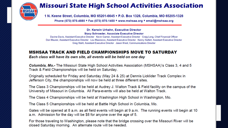 MSHSAA Track & Field event moved to Saturday, May 25.