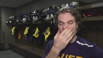 Robert Thomas after scoring in Blues' win over Oilers