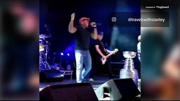 Let's Go Blues! The Urge play goal song with the Stanley Cup