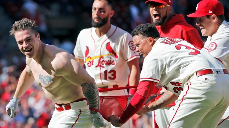Tyler O'Neill celebrates after walk-off home run