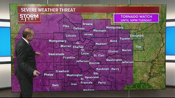Tornado warnings threat shifts to counties east of St  Louis