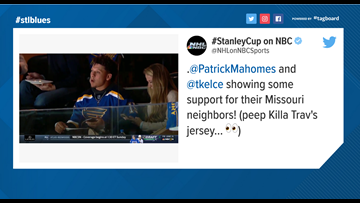 Kansas City Chiefs' players rocking Blues jerseys at Game 3