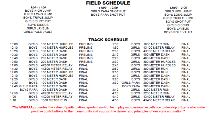 New MSHSAA Track & Field schedule