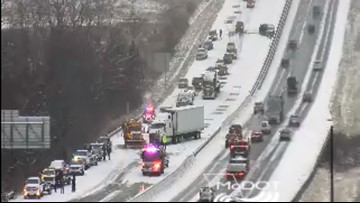 WB I-70 closed in St. Charles County after 13-car crash
