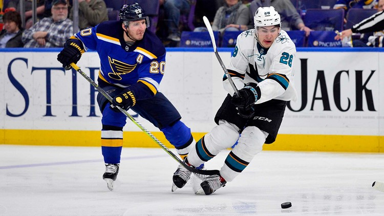 With the Blues on a five-game winning streak and the Sharks on an eight-game streak, something has to give at the Scottrade Center Tuesday night.