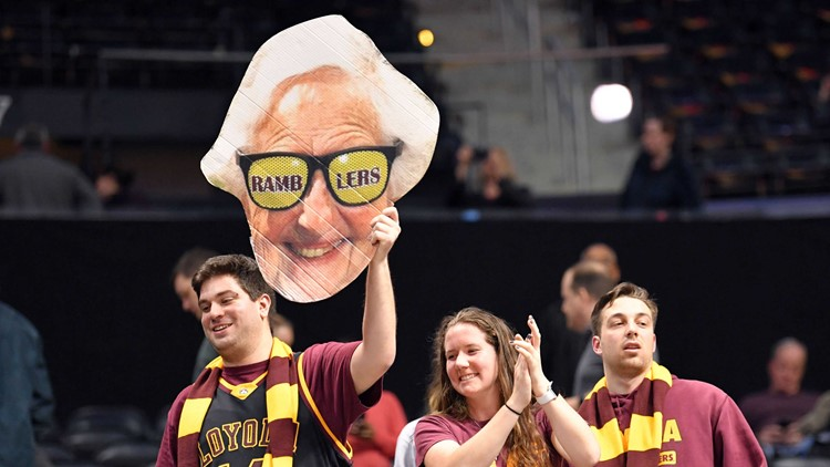 Loyola's Sister Jean speaks prior to NCAA men's Final Four