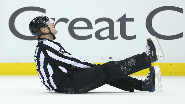 He fell awkwardly to the ice and seemed to be in considerable pain when he was helped off by team trainers late in the second period.