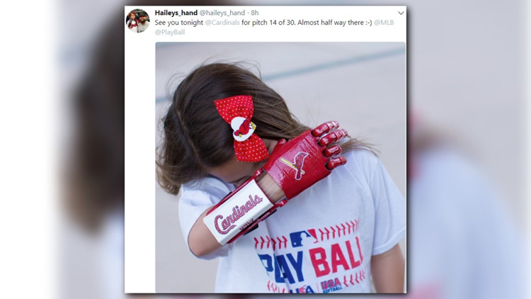 Hailey Dawson, 8, will throw out the first pitch using her 3D-printed hand in the game against the Padres at Busch Stadium.