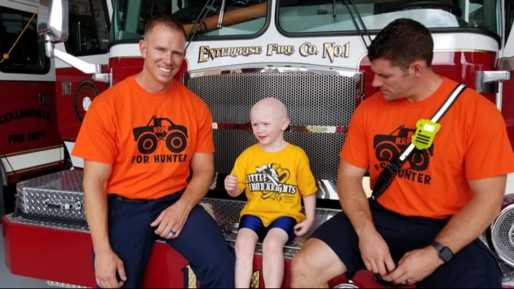 Hunter got a VIP tour of the station Wednesday after undergoing his ninth chemotherapy treatment.