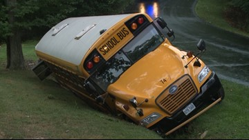 School bus slides off road in O'Fallon, Mo. on first day of school