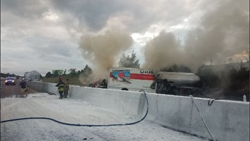 Fire erupts after tanker truck accident on I-70 in