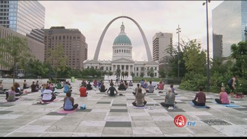 Free Sunrise Yoga at Kiener Plaza every Tuesday