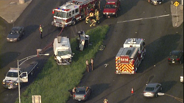 The High Ridge Fire District reported there was at least one person trapped in a vehicle.