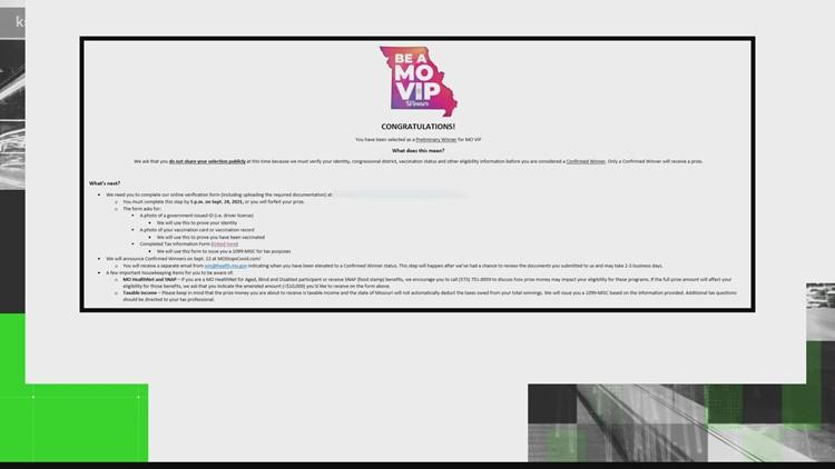 Verify: MO VIP winner notifications