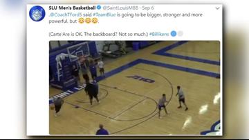 SLU basketball freshman Carte'Are Gordon shatters backboard in practice