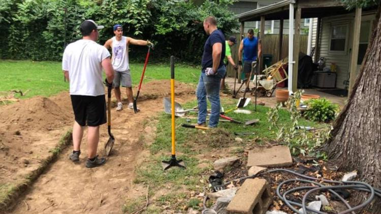Webster Grove firefighters spend off-days building sidewalk for woman in wheelchair who had trouble getting into her home