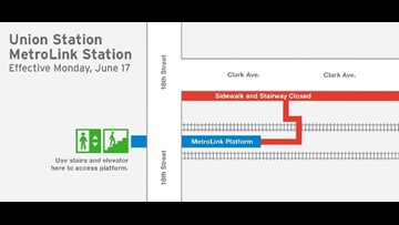Clark Avenue stairway at Union Station MetroLink Station temporarily closed